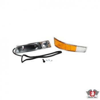 Blinkleuchtenglas mit Metallgehäuse, vorne, links mit E-Kenneichnung